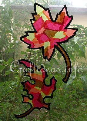 Fall Craft for Kids - Paper Crafts - Leaf Window Suncatchers