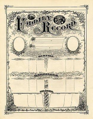 free printable vintage family record