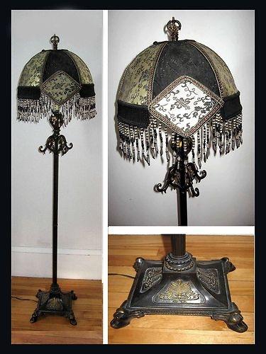 Chinoiserie Black Gold Floor Lamp Beaded Victorian Shade