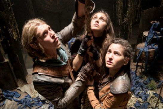 From left, Wil (Austin Butler), Amberle (Poppy Drayton) and Eretria (Ivana Baquero) in MTV's new fantasy series The Shannara Chronicles.