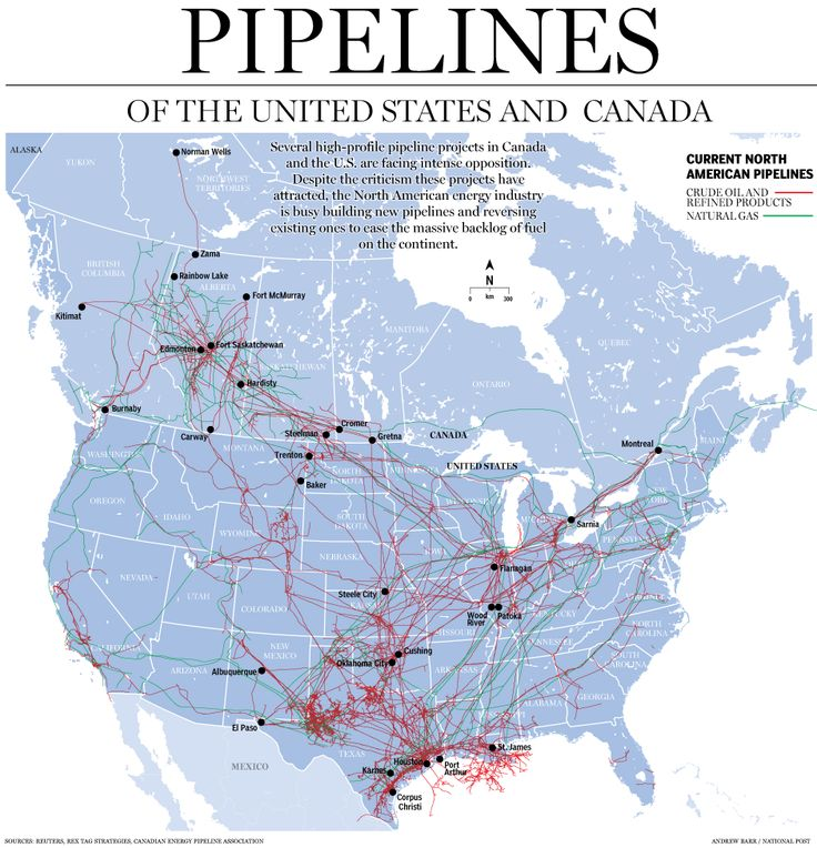 Pipelines of the US and Canada.  Interactive maps with ThingLink