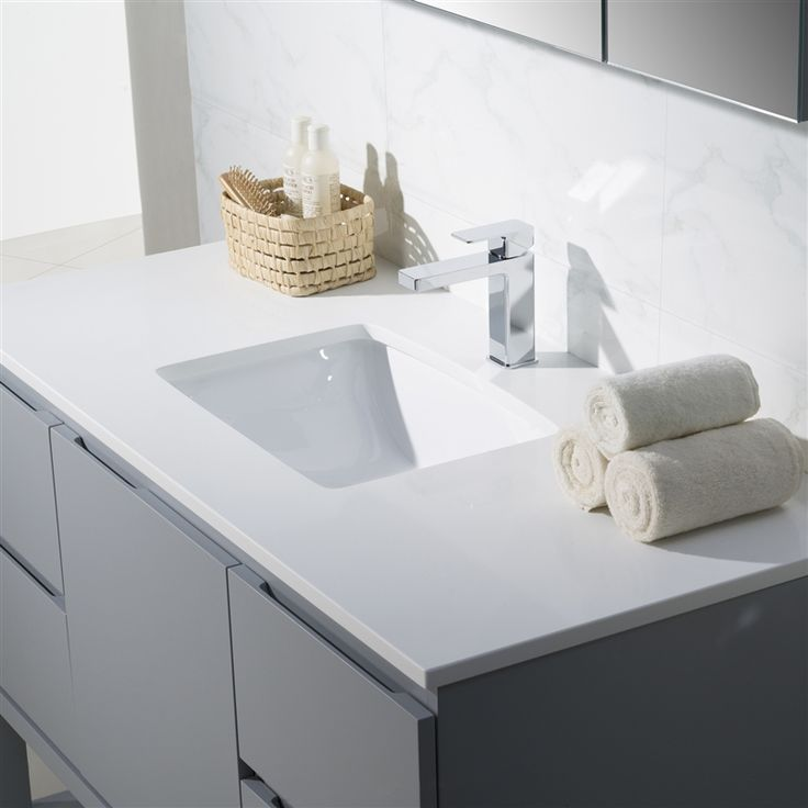 Image Of Modern Bathroom Vanity Emmet with Quartz Stone