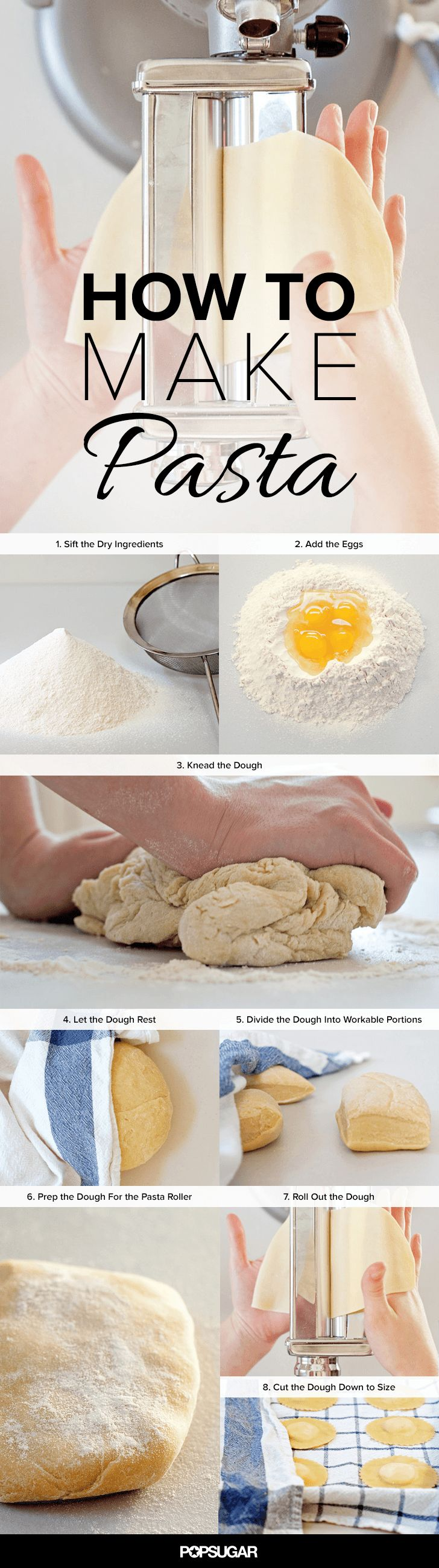 It's hard to believe that fresh pasta dough is made from such humble ingredients as flour, eggs, and a pinch of salt, but it's true. While the task might seem daunting on the outset, it's easier than it seems with this step-by-step how-to.