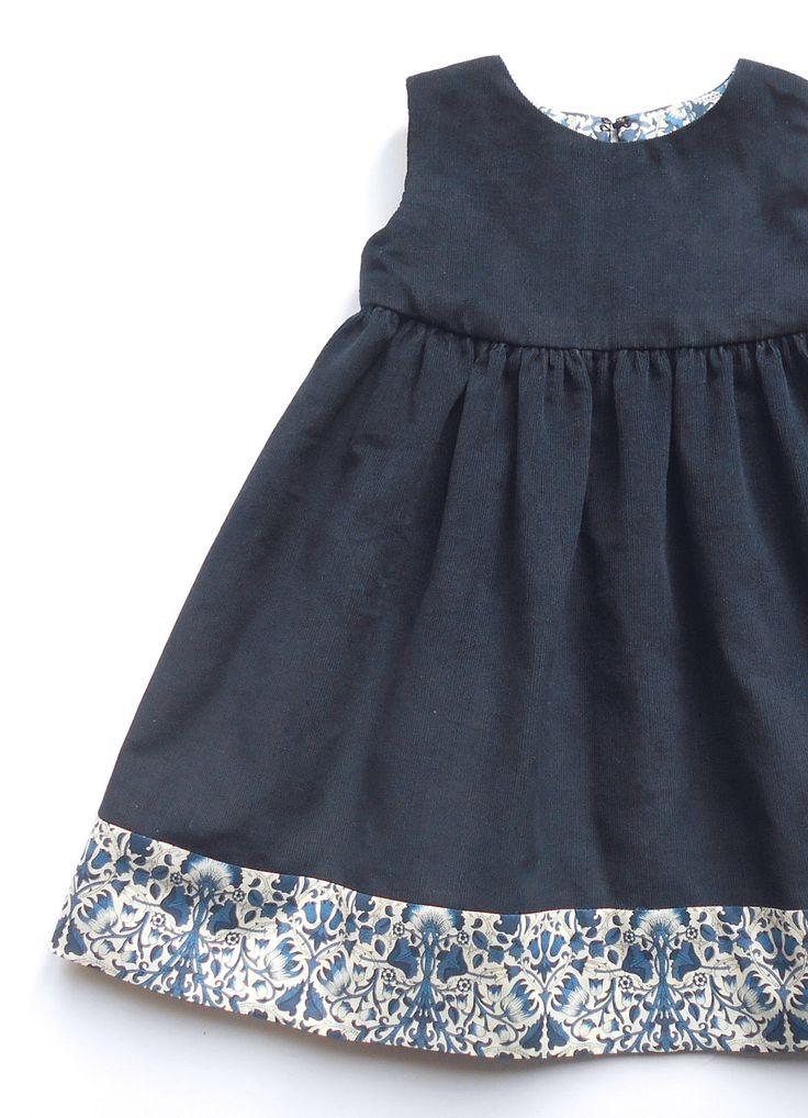 Like liberty fabric accent with plain fabric Handmade Corduroy & Liberty Print Dress | gathersandbows on Etsy