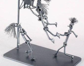 Equipo de baloncesto - MetalDiorama Metal arte escultura