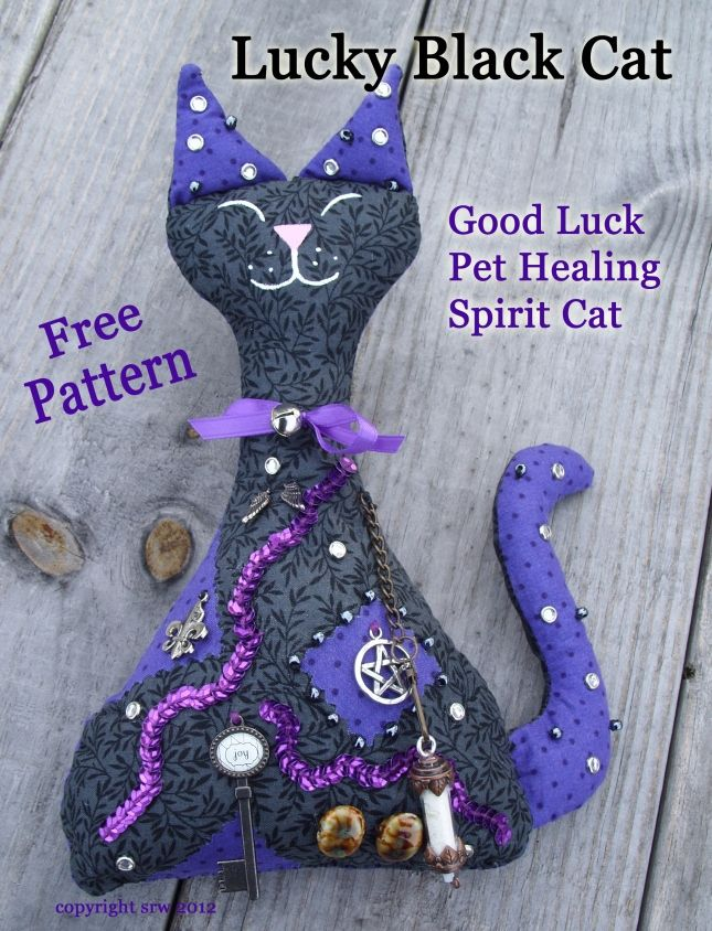 """Lucky Black Cat by Silver Ravenwolf -- http://silverravenwolf.wordpress.com/2012/03/07/spirit-cat-pattern-for-protection-success-or-healing/     Something to add to my """"craft to-do list"""""""