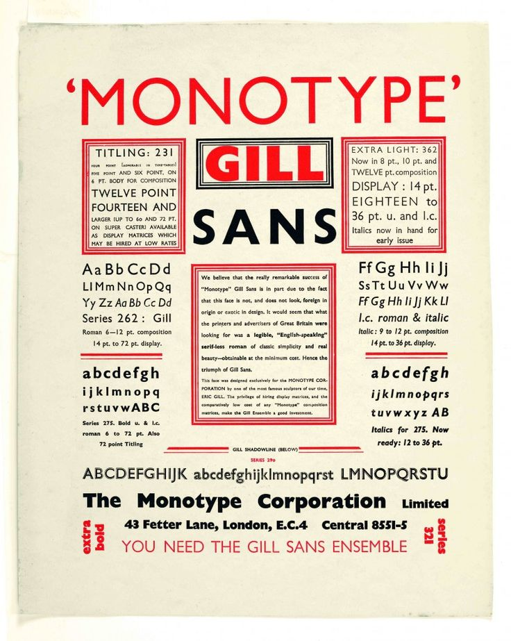 Gill Sans Broadside, early 1930s