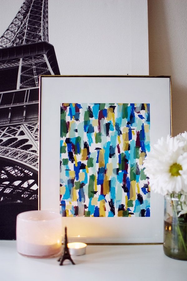 RIO 8.5 x 11 modern abstract paint strokes art by khristianahowell, $22.00