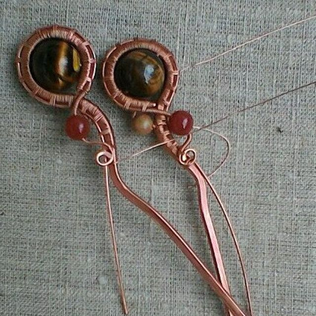 I'm doing a pair of studs. This is for my beautiful long hair Summer! I want to be even more beautiful! Exclusive Jewelry from copper & Nickel silver & by MagicCopper