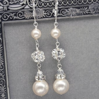 Long Pearl and Rhinestone Earrings