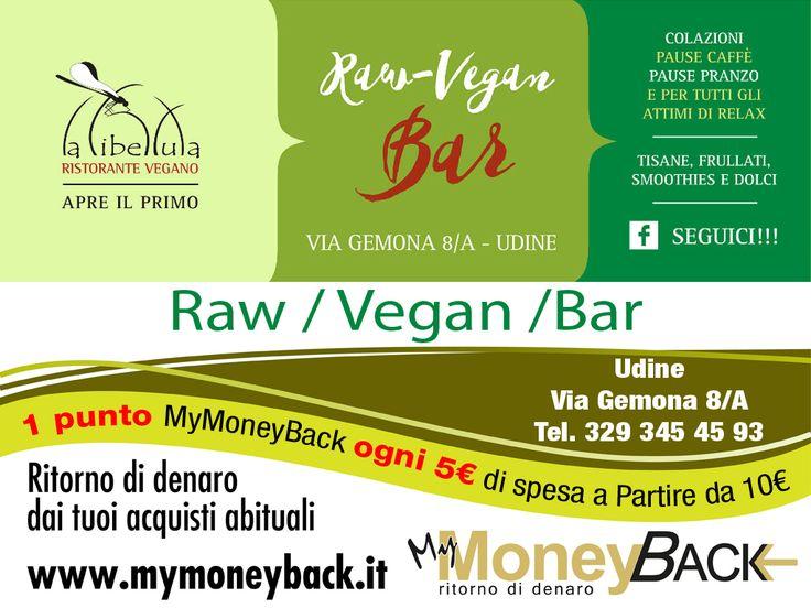 """Per le tue pause pranzo veloci e sane La Libellula Raw Vegan Bar offre tante specialità vegane, crudiste, Gluten Free e un vasto assortimento di tisane, dolci, smoothies, frullati e snack.  """"Le scelte che fanno la differenza """" [La Libellula]  Grazie a MyMoneyBack hai 1 punto MyMoneyBack ogni 5 € di spesa a partire da 10 € di acquisti!! Mangia e bevi sano guadagnando punti da cambiare in denaro contante!  @Raw Vegan Bar  #MyMoneyBack"""