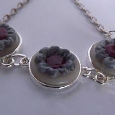 Bracelet 3 médaillons bordeaux et gris en pâte polymère