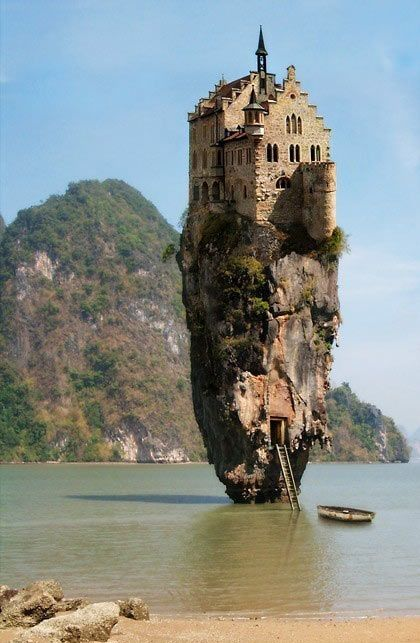 Castle on a Rock, Dublin, Ireland PHOTOSHOP! Lichtenstein Castle & James Bond Rock