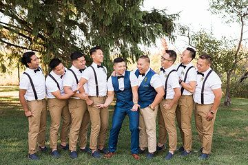 Groomsmen Details - Bow Ties, Short Sleeve Button Up's, Skinny Khaki's and laced up Loafers - Groom: Vest, Suit - Ted Baker Photo from Jess & Francis collection by 1486 Photography