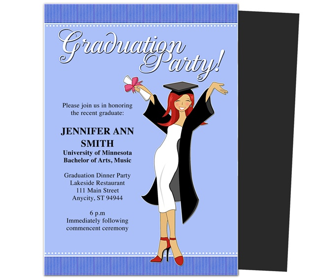 Graduation party invitations templates commencement graduation party announcement template for Graduation announcements pinterest