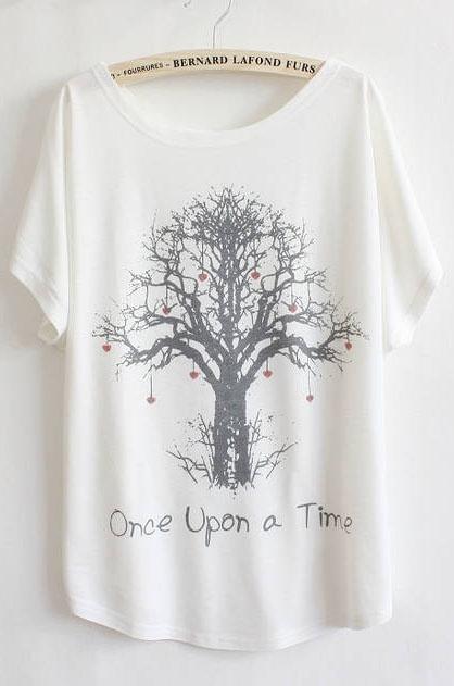 White Batwing Short Sleeve Wishing Tree Print T-Shirt