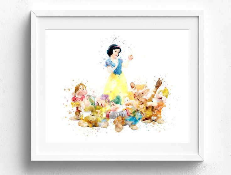 3.00$ - Children bedroom art, snow white 7 dwarfs, disney wall art, snow white clip art, disney art print, seven dwarfs picture, disney princess art