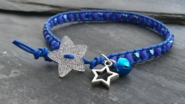 Cobalt blue leather and glass bead bracelet, glitter star button, bell, festive £10.00