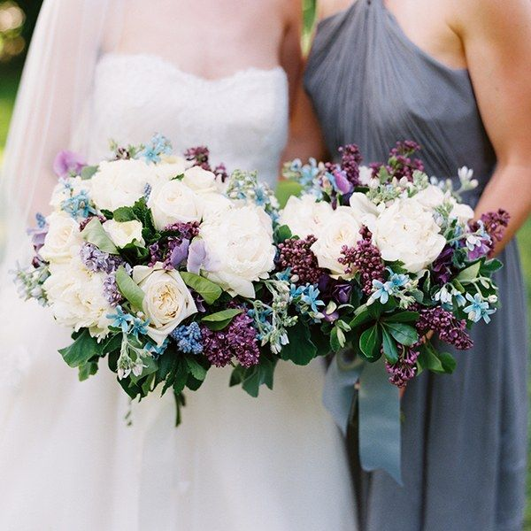 Bouquet of lilacs, peonies, tweedia, lavender, sweet peas, garden roses, scented geranium, mint, and lilac leaves, $275 (bridal bouquet); $195 (bridesmaid bouquet), Hana Floral Design