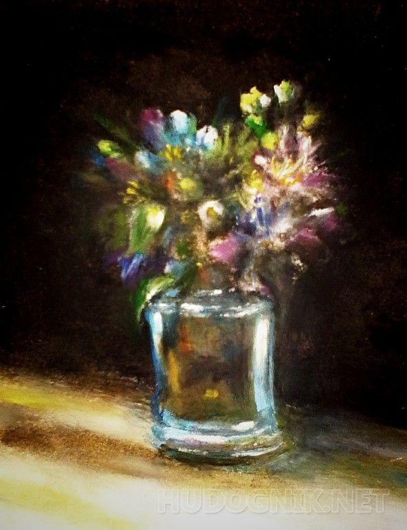 Букет Миниатюра ...яркие цветочки на тёмном фоне...