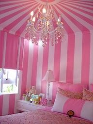 Pink Striped Wall Bedroom with Pink Bed <3 <3 <3 ohhh myyy pink stripes is alil candycaneish Lol