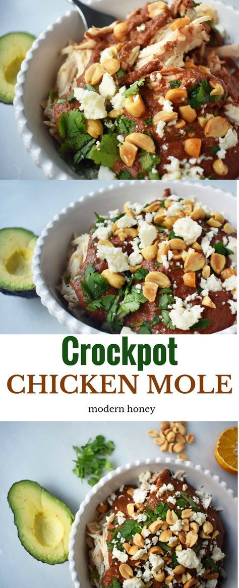 Crockpot Mexican Chicken Mole. The rich flavor from mole sauce made in a slow cooker. Tender chicken covered in a Mexican spiced sauce. Can be eaten alone or with a side of cilantro rice or can be made into chicken mole tacos. www.modernhoney.com