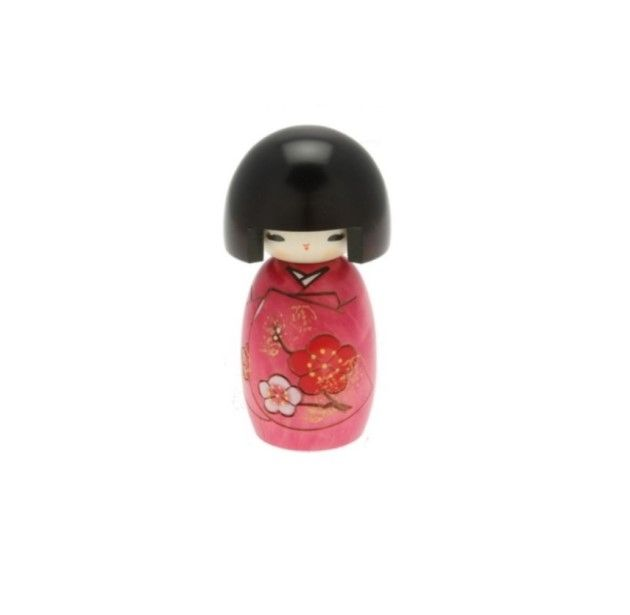 "5.25"" High Kokeshi Girl w/Pink Sakura Blossoms — Seito 