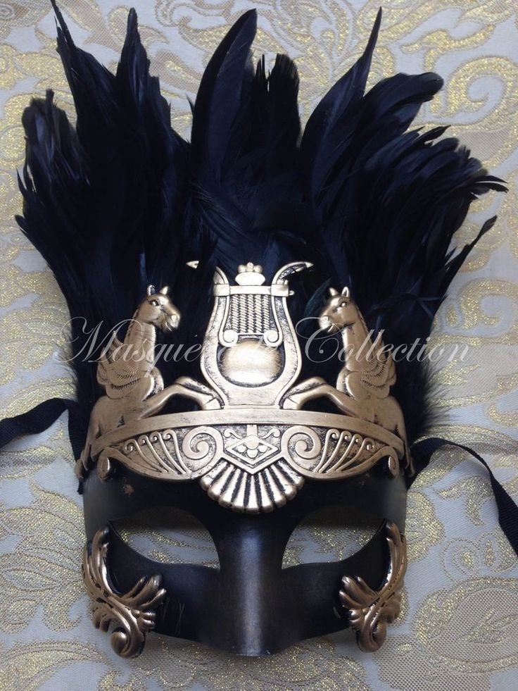Warrior Roman Greek Hercules Gold Venetian Masquerade Men's Mask w/Feathers #Venetian