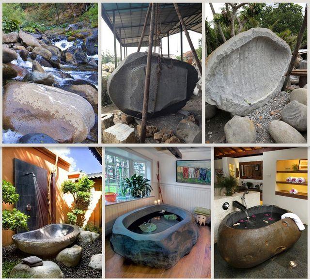 Hand Carved Freestanding Boulder Bathtub. Luxury Stone Soaker Tub. MBB#3 tropical-bathtubs