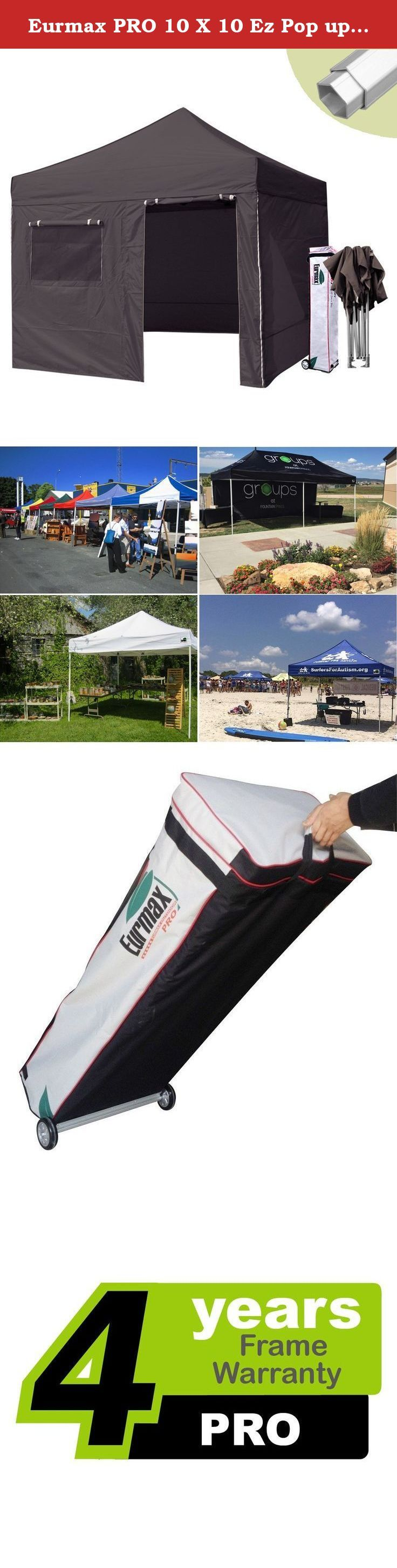 """Eurmax PRO 10 X 10 Ez Pop up Canopy Tent Commercial Canopy Gazebo with Full Walls and Roller Bag, Black. Eurmax New PRO easy pop-up canopy is our high commercial level canopy with Full Aluminum frame, it can be quickly erected by two people without any tools. The canopy is light in weight and high in quality. we have 3 sizes available and 19 colors for your choice. this portable canopy comes with a super wheeled bag with two 4.7"""" wheels which can handle well even on rough ground.each…"""