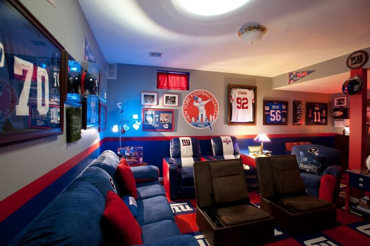 Ny giants fan dream room game room ideas and game room - How to make your room look cool for guys ...