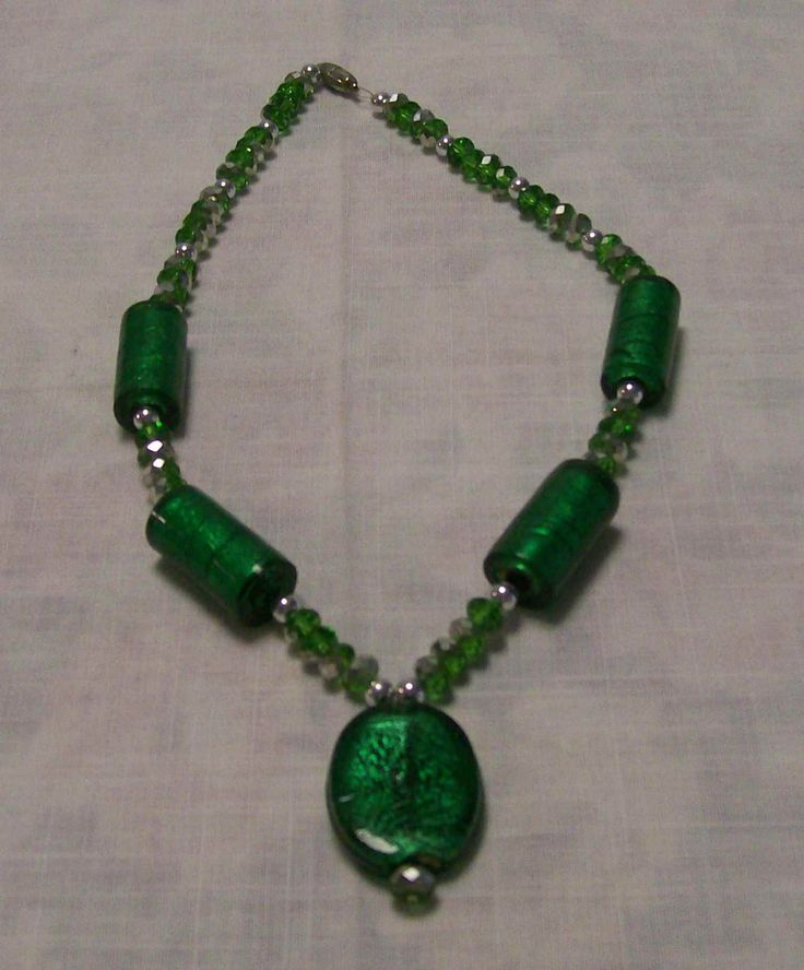 Green foil and green crystals with silver spacers - A$20.00