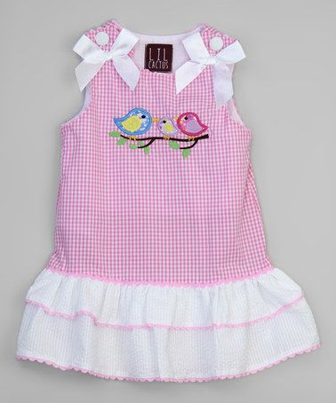 This Pink & White Birds Tiered Jumper - Infant, Toddler & Girls is…