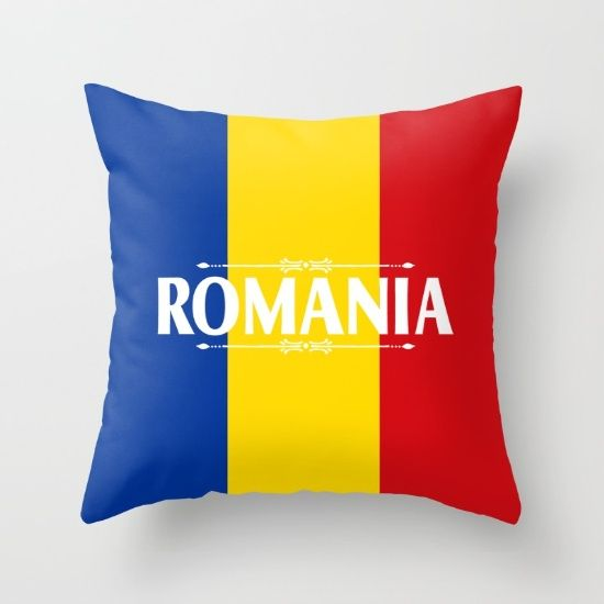 Throw Pillows Primary Colors : Romania Country Flag Colors and Text - red, yellow, blue Throw Pillow Colors, Blue pillows and ...