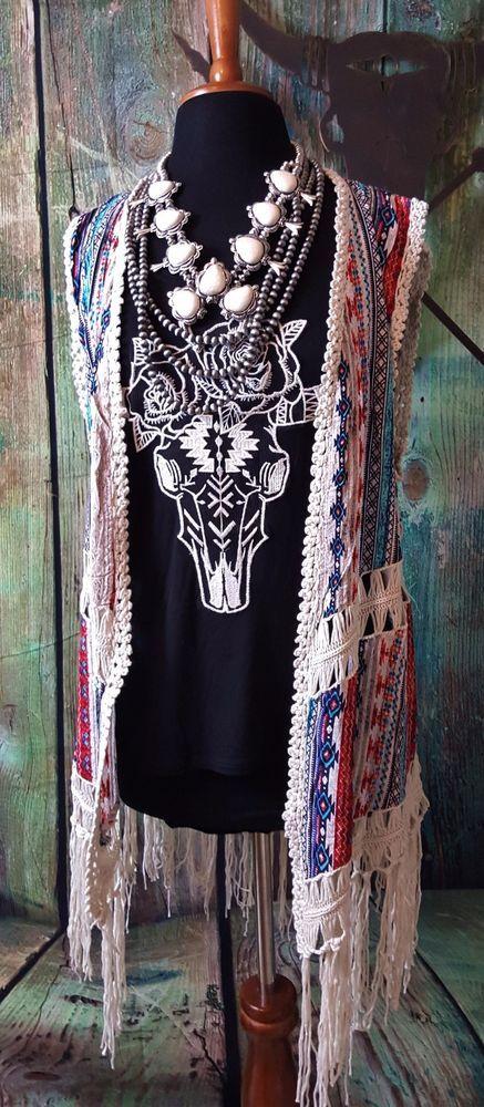 COWGIRL gYPSY FRINGE Duster VEST AZTEC Festival HIPPIE BOHO Western Medium nwt #other #VEST