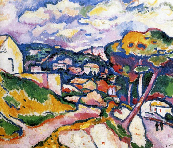 """Georges Braque (1882 - 1963) was een Franse kunstschilder, tekenaar, beeldhouwer en maker van collages. Hij was mede toonaangevend voor nieuwe richtingen in de moderne 20ste-eeuwse kunst. Samen met de Spaanse kunstschilder Pablo Picasso was hij de grondlegger van het kubisme. Braque was ook actief als sieraadontwerper. De schilderkunst van Georges Braque behoort tot het kubisme en het fauvisme. """"Paysage de L´Estaque"""" (1906)"""