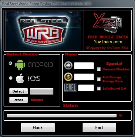 Real Steel World Robot Boxing Cheats Tool v7.32 2014 for Android/iOS. Working without problems. Download here! The Best Cheats only from YavTeam. http://www.yavteam.com/real-steel-world-robot-boxing-cheats-tool-v7-32-2014/