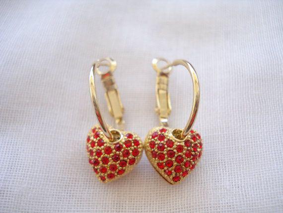 Red rhinestone heart hoops Gold hoop earrings by Poppyg on Etsy