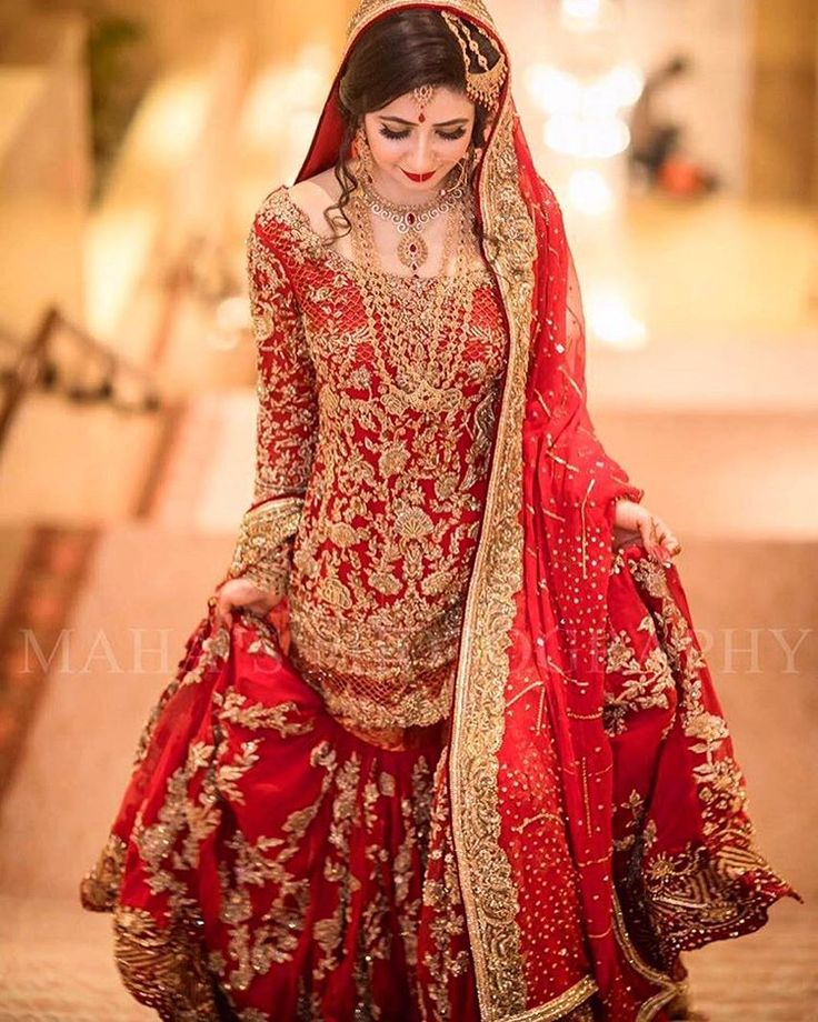"""1,577 Likes, 7 Comments - Pakistan Vogue (@pakistanvogue) on Instagram: """"A timeless design by @mohsin.naveed.ranjha 's Classic red with handcrafted  gold embroidery ❤…"""""""