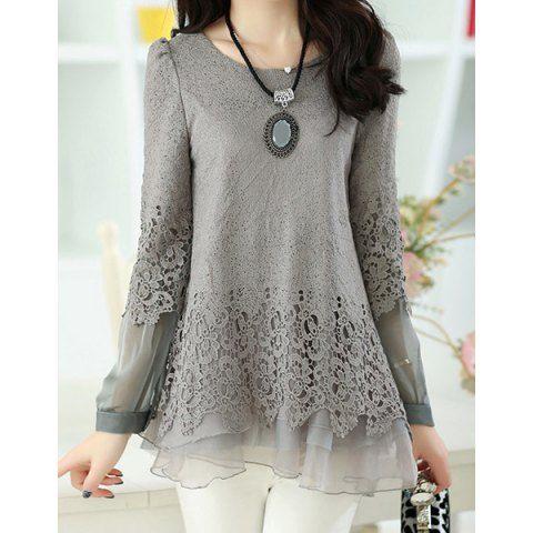 Long Sleeve Lace Embellished Solid Color Skirt Hem Women's T-shirt..  $17.38!