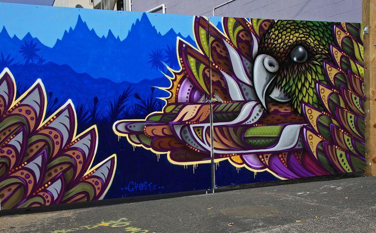 Temporary fence mural for Housing NZ August 2013 Berhenpore Wellington New Zealand
