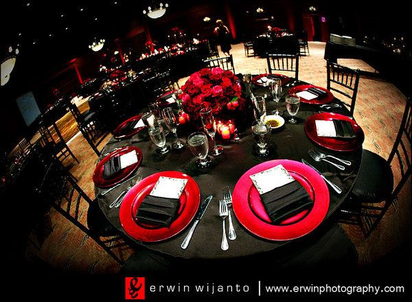 Red Black And White Table Setting Part 47