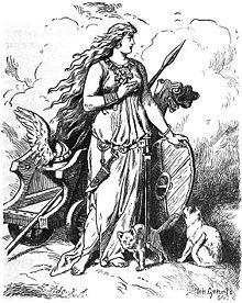 Freja (norrønt: Freyja) er en vigtig gudinde i den nordiske mytologi. Hun var frugtbarhedsgudinde, men blev primært opfattet som kærlighedsgud i erotisk og svangerskabsmæssig forstand, og var i vikingetiden den vigtigste kvindelige guddom, måske var hun den ældre gudinde Nerthus arvtager i Norden, og måske gled hendes skikkelse og dyrkelsen af hende over i Jomfru Maria i løbet af middelalderen. Udover elskov og frugtbarhed blev hun associeret med død, krig, magi, profeti og rigdom ligesom…