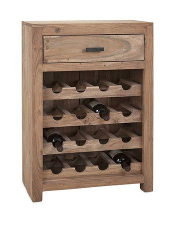 IMAX Cade Wine Storage Cabinet - Sweet sixteen: That's how many vintages this wood storage cabinet can show off at any given time, with necessary accessories stored in the handy drawer.