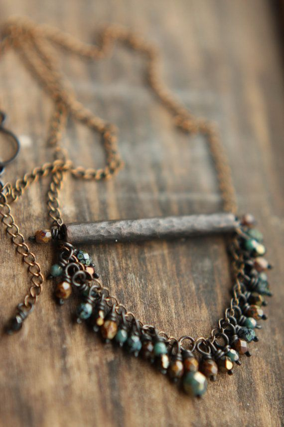 Faceted Turquoise, Caramel & Nightshade Toned Short Oxidized Raw Copper And Czech Glass Necklace