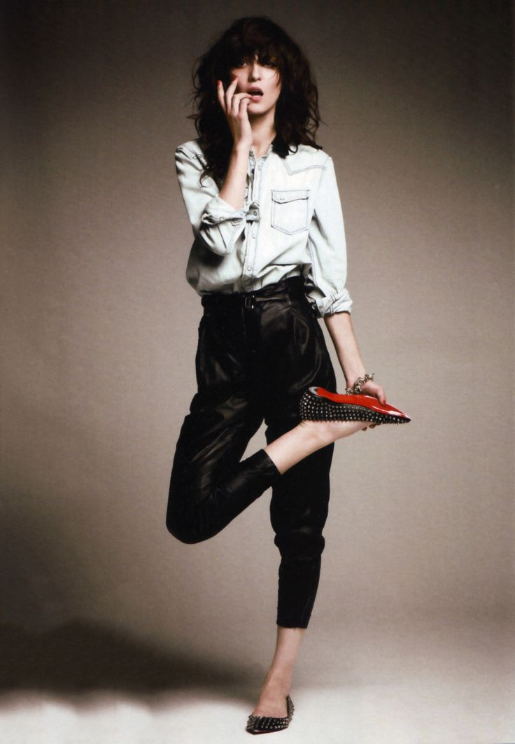 Irina Lazareanu for Marie Claire - Diesel Black Gold leather pants