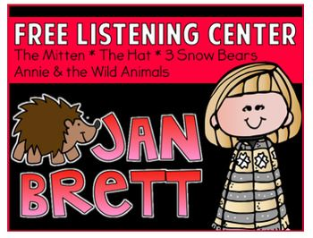 FREE Listening Center QR Code- Jan Brett.  Includes:  The Mitten, The Hat, 3 Snow Bears, and Annie & the Wild Animals