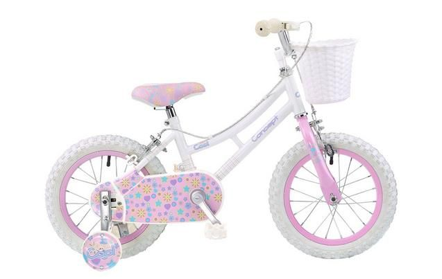 Concept Miss Cool Kids Girls 14inch Wheel Bike Stabilisers White And Pink
