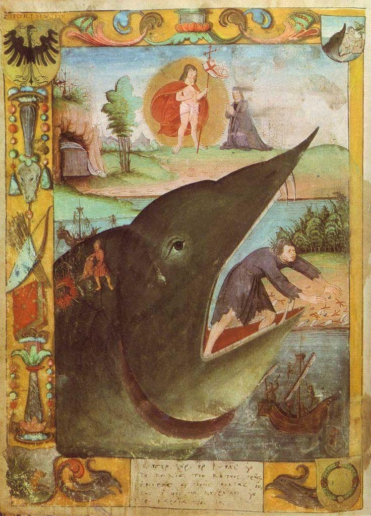 Jonah, Illuminated Austrian Bible. Mit Bezug zur Auferstehung (oben)