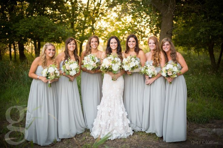 Long gray bridesmaids dresses - Beautiful South Dakota Wedding
